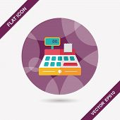 pic of cash register  - Shopping Cash Register Flat Icon With Long Shadow - JPG