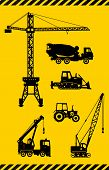 Set of heavy construction machines icons. Vector illustration