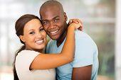 beautiful afro american couple hugging
