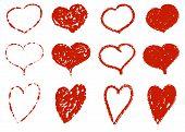 Set of hand-drawn grunge hearts