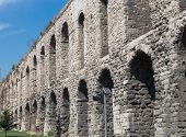 Valens Aqueduct in Istanbul, side view