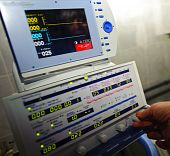 foto of medical equipment  - a medical equipment on blood transfusion is checked up before the use - JPG