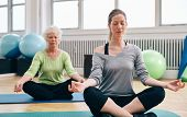 picture of senior class  - Two women practicing yoga in class - JPG
