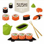 Icon set of various sushi.