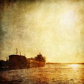 stock photo of barge  - Barge on the Old Paper Style Photo - JPG