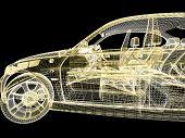 3d car model on black background