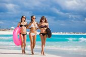 stock photo of lifeline  - Three young beautiful girls  - JPG