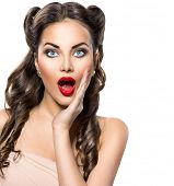 picture of excite  - Surprised Retro woman portrait - JPG