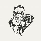illustration of crime Santa Claus. Black and white style