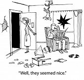 pic of wrecking  - Cartoon of a home at the end of an evening with the neighbors - JPG