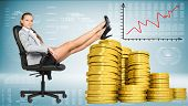 picture of golden coin  - Businesswoman sitting on office chair with her feet up on piles of golden coins - JPG