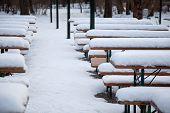 Beergarden In Winter With Snow