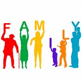 Family Concept With Colored Silhouettes Of Children And Parents