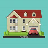 Flat design illustration of residential house