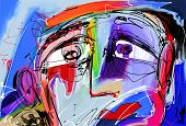 picture of expressionism  - original abstract digital painting of human face - JPG