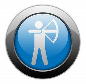 stock photo of archery  - Image Graphic Icon Button Pictogram with Archery symbol - JPG