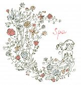 Girl and flowers - spa graphic illustration for card