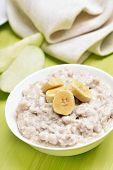 Breakfast Oatmeal Porridge With Bananas Slices