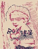vintage queen woman newspaper art