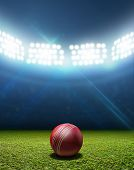 image of cricket ball  - A cricket stadium with a red leather cricket ball on an unmarked green grass pitch at night under illuminated floodlights - JPG