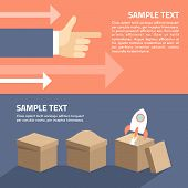 Set Of Flat Vector Illustration. Start Up Concept. Rocket In The Box. Motivation Concept. Hands With