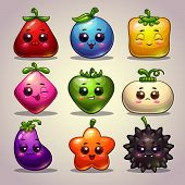 image of kawaii  - Cute cartoon colorful plant characters - JPG