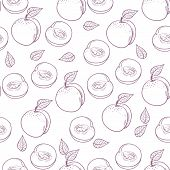 Hand Drawn Outline Peach With Slice Seamless Pattern