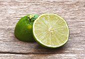 Lemon Cut On Wooden Table