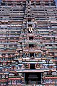 pic of meenakshi  - Stucco sculptures on a tower of Meenakshi Temple Madurai - JPG