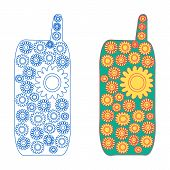 Mobile phone blooming - two version - line icon and with colored filling