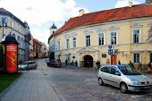 Vilnius City Center Street With Cars And Houses