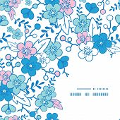 Vector blue and pink kimono blossoms frame corner pattern background