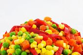 stock photo of frozen food  - Closeup of a Frozen Mixed Vegetables - JPG