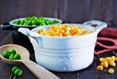 picture of sweet pea  - sweet corn and green peas in bowl - JPG