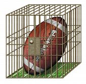 pic of jail  - Digital illustration of a football in a jail cell - JPG