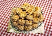 Group Of Fresh Traditional Hungarian Country Food Homemade Pogacsa