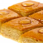 picture of baklava  - Baklava with almonds on white background - JPG
