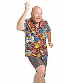 stock photo of dork  - Expressive old man in loud shirt holiday concept isolated against white - JPG