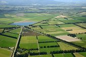 stock photo of intersection  - Aerial of complex intersection amid cropping farms in Canterbury South Island New Zealand - JPG
