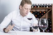 Winemaker Smelling A Red Wineglass.