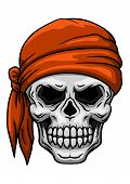 Skull in orange bandana