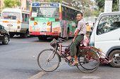 Lively Maha Bandoola Road in Yangon