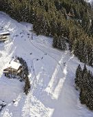 Slope At Swiss Alpine Resort Aerial View