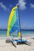 Hobie Cat catamaran ready for tourists at Bavaro Beach in Punta Cana.