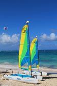 Hobie Cat catamarans ready for tourists at Bavaro Beach in Punta Cana