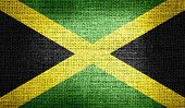 Jamaica flag on burlap fabric