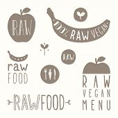 Raw vegan labels.