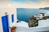 White Architecture In Oia Village. Santorini Island, Greece