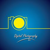 Line Vector Icon Of Digital Camera In Yellow Color