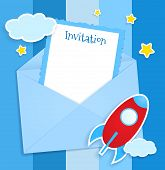 Blue Invitation Card With Clouds And Airplane Stickers.